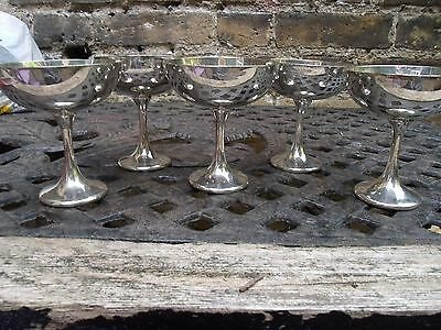 Vintage Set Of 5 Silver Plate Sundae Dishes
