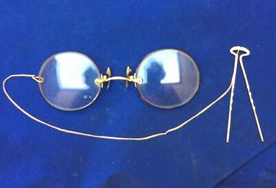 Antique Eye Glasses Pince Nez, Chain, Hairpin, Case Gold Content Or Goldfilled !