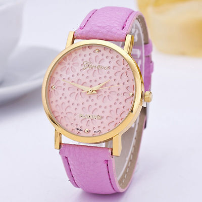Pink Lades Watch  Geneva Snowflakes Fashion Leather Band Analog Quartz Wrist