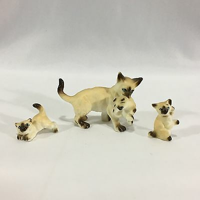 3 vintage siamese mini figurines