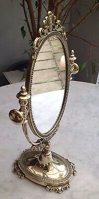 Beautiful Vintage ROCOCO Ornate Italian Solid Brass Vanity/Dressing Table Mirror