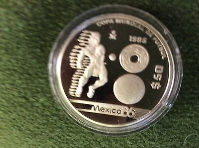 Mexico 1985 World Cup Football $50 Pesos Silver Proof