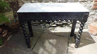 Victorian Carved Oak  side/console table with white  Carrera  marble top