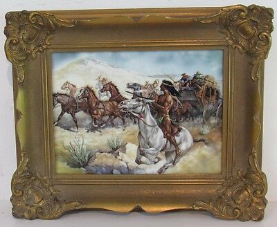 "Fine Rpm Germany Porcelain Plague Painting ""the Attack On The Wagon Train"""