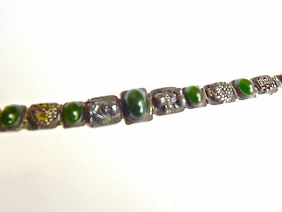 Antique Chinese Silver & Green Jade Cabochons Bracelet