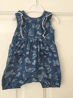 Baby Girl Denim Butterfly Romper Playsuit 0-3 Months
