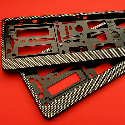 2 x New Carbon Effect Number Plate Holder Frame Bracket for any KIA Car