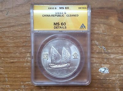 China $1 Junk Silver Dollar Yr.22 (1933) ANACS MS-60 details cleaned @@ must see
