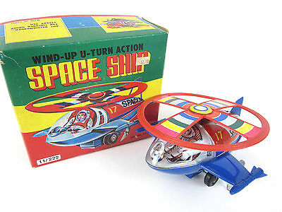 Vintage Space Ship Helicopter Wind-Up U-Turn Action Tin Mint in Box
