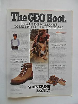 1982 Print Ad Wolverine Shoes Leather Boots ~ The GEO Boot: Wilderness
