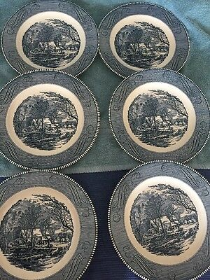 "6 Royal China Currier & Ives blue and white 10"" Dinner Plates Old Grist Mill"