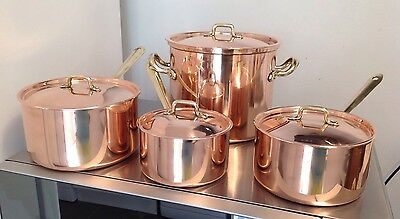 3 GRADUATING Douro COPPER & BRASS SAUCEPANS W/ LIDS + LIDDED STOCK POT TIN LINED