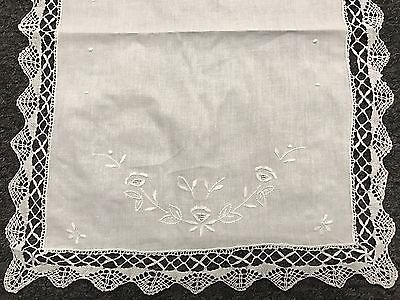 "Vintage Embroidery Handmade Bobbin Lace Cotton Tablecloth Runner 16x52"" White"