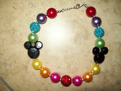 Girls OSFM Mickey Mouse Bubblegum Necklace 2T 3T 4T 5T 6 7