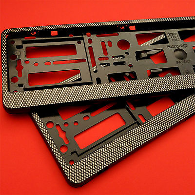 2 x Carbon Effect Number Plate Surrounds Holder Frame Bracket for AUDI RS3 RS5