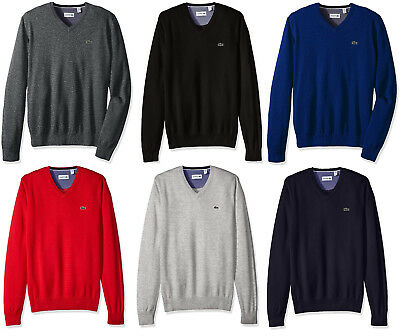 0b09366bec Lacoste Men's NEW V-Neck Pull Over Long Sleeve Ribbed Knit 100% Cotton  Sweater