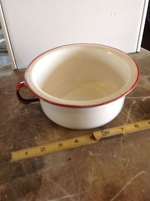 OLD VIntage ANTIQUE PORCELAIN ENAMEL LARGE UNIQUE HANDLE WHITE Red KITCHEN POT