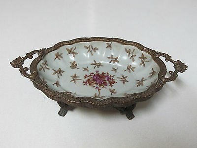 Old or Antique Chinese Huarong Tang Zhi Porcelain Footed Bowl with Bronze Handle