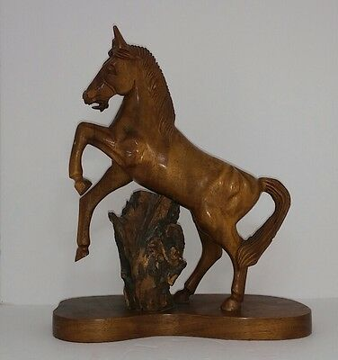 Vintage Hardwood Hand Carved Wooden Horse Statue Made In The Philippines