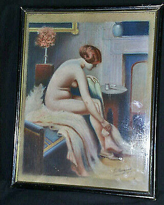 c1930 French Art Deco Signed Interior Study Pastel Nude After Louis Dupont Frame