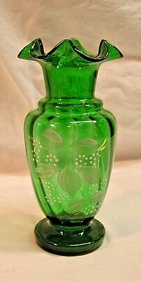 Vintage Victorian Emerald Green Hand Blown Vase with Fluted Top & Enameled
