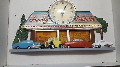Vintage Coca Cola Coke Wall Clock Family Drive In Diner