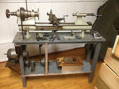 "ANTIQUE STARK No 4 PRECISION BENCH LATHE 38"" SPLIT BED W COMPOUND SLIDE, TOOLING"