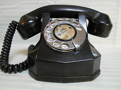 Vintage MONOPHONE AUTOMATIC ELECTRIC TELEPHONE Mod # N 4023 EO Black Rotary Dial