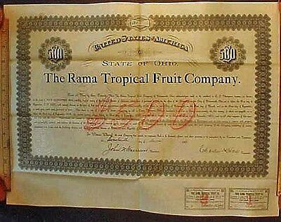 1891 Bond Certificate For The Rama Tropical Fruit Company, Portsmouth Ohio