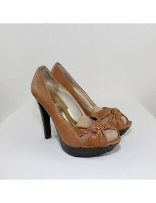MICHAEL MICHAEL KORS Ladies Tan Leather Open-Toe Heels Size 7.5M