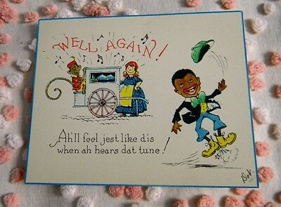Vintage 1932 Depression Era Black Americana Get Well Greeting Card