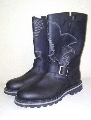 NEW Georgia Boots Mens Black Leather Engineer Motorcycle Biker Size 9 Eagle
