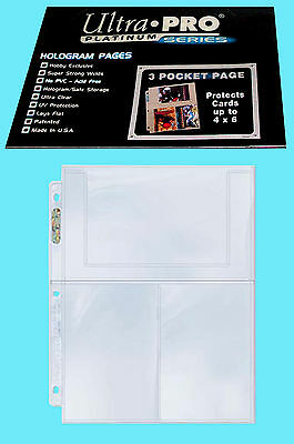 25 ULTRA PRO PLATINUM 3-POCKET 4x6 Pages Sheets Photo Currency Coupon Post Card