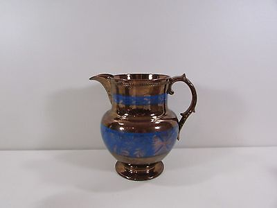 "Antique Large 8""h Copper and Blue Luster Ware Lusterware Milk Pitcher"
