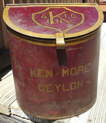 Antique Large Store Display Litho Tin Advertising TEA / COFFEE KEN  TEA CADDY