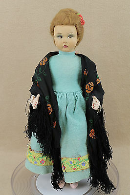 "16"" Old Antique Felt Cloth Doll in original costume with Applied Ears"