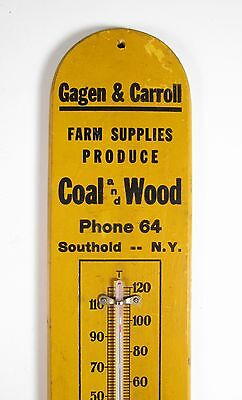 Antique Wood Advertising Thermometer Sign Coal Farming Southhold Long Island NY