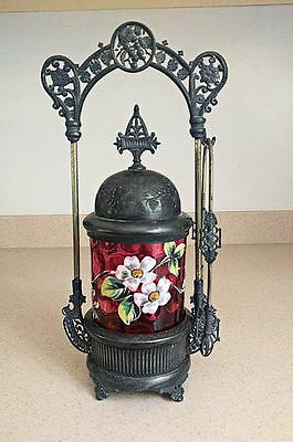 Beautiful Victorian Pickle Castor With Cranberry Decorated Insert