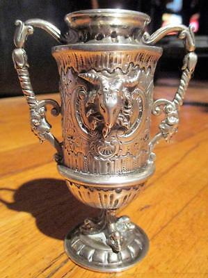 19th Century Coin Silver-Ornate & Baroque Goblet-Chalice-Ritual-Vestment -100 gr
