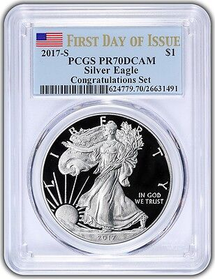 2017-S $1 American Silver Eagle Congratulations Set PCGS PR70DCAM First Day - BL
