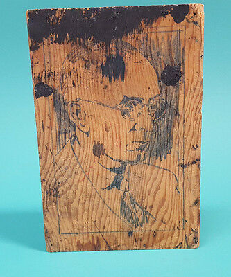 Antique Famous Man WOODCUT PRINT BLOCK Herman Hesse or Pres.Truman ?