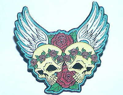 GRATEFUL DEAD JERRY GARCIA RELIX ' DEAD TWINS ' SKULL AND ROSES  1 3/4 inch PIN