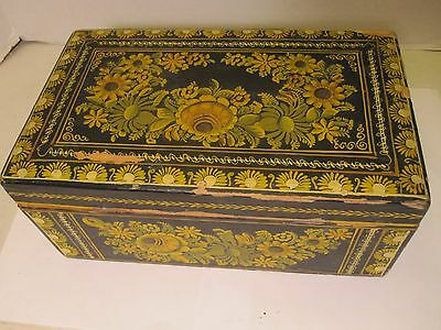 Antique / Vintage Hand Painted Tole Wooden Box Hinged Lid Folk Art