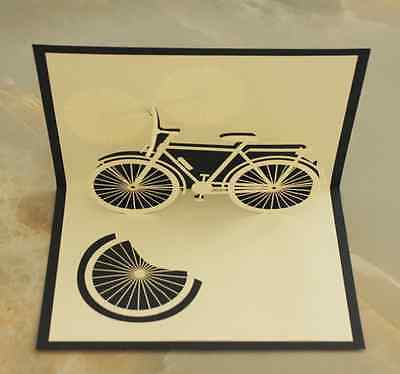 *Bicycle* Pop Up 3D Handmade Greeting Card with Envelope NAVY