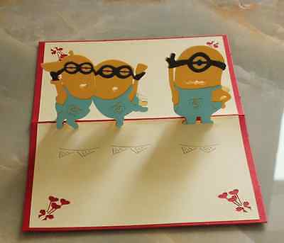 *DESPICABLE ME MILLIONS* Pop Up 3D Handmade Greeting Card with Envelope