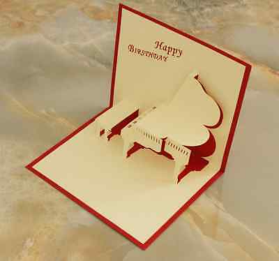 *HAPPY BIRTHDAY - PIANO* Pop Up 3D Handmade Greeting Card with Envelope