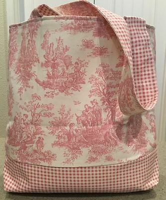 Handmade Waverly Pink Toile Gingham Checker Tote Diaper Bag Baby Shower Gift