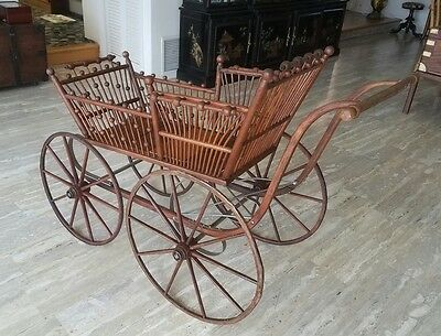 "Victorian Oak ""pram"" Baby Carriage"