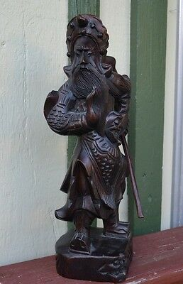 "14 1/2"" Asian Warrior Wood Carving"