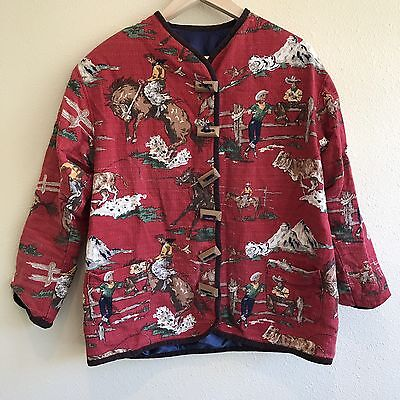Vintage 50s Cowboy Barkcloth Women's Jacket Red Western Lined Wood Buttons Large